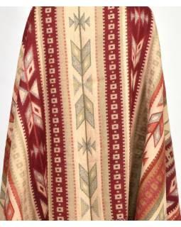 Velký zimní šál s geometrickým vzorem, červeno-šedá, 205x95cm