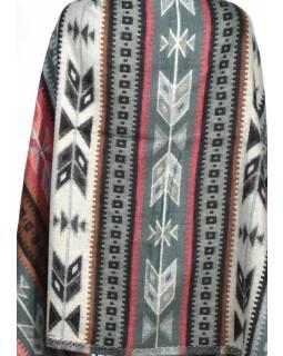 Velký zimní šál s geometrickým vzorem, šedo-černá, 205x95cm