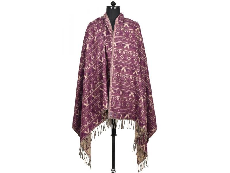 Velký zimní šál s drobným geometrickým vzorem, fialová, 205x95cm