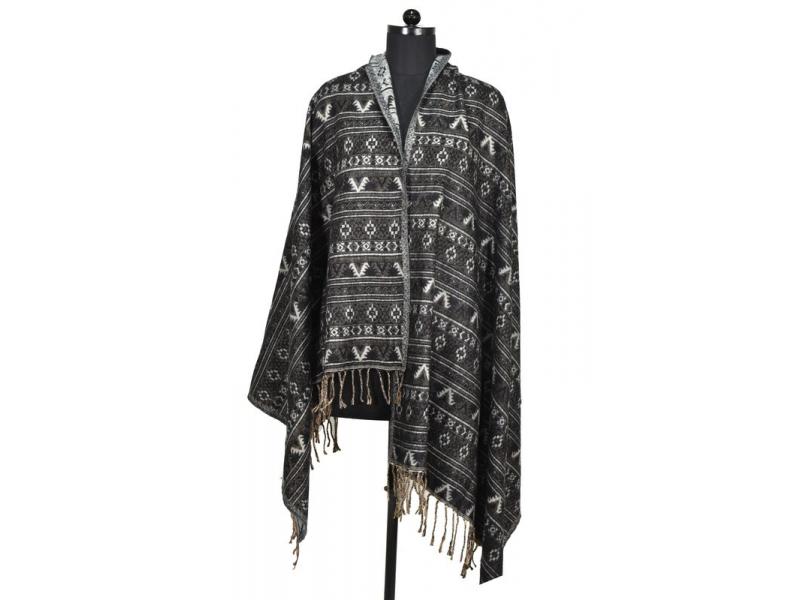 Velký zimní šál s drobným geometrickým vzorem, černá, 205x95cm