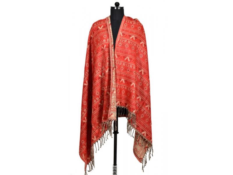 Velký zimní šál s drobným geometrickým vzorem, červená, 205x95cm
