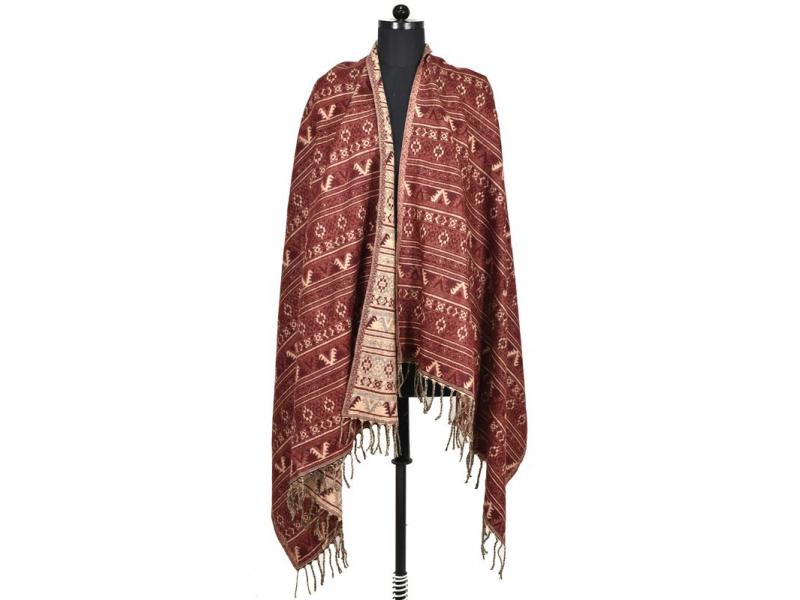 Velký zimní šál s drobným geometrickým vzorem, vínová, 205x95cm