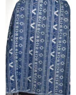 Velký zimní šál s drobným geometrickým vzorem, modrá, 205x95cm