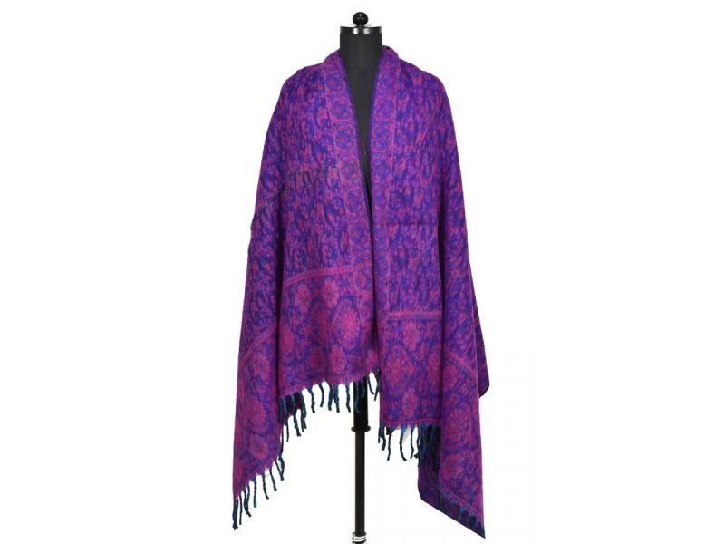 Velký zimní šál s paisley vzorem, fialová, 205x95cm