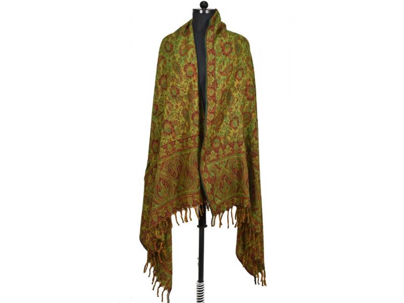 Velký zimní šál s paisley vzorem, zelená, 205x95cm