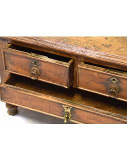 Starý kupecký stolek z teakového dřeva, 65x44x44cm