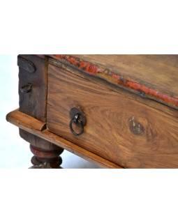 Starý stolek z teakového dřeva, otvírací dvířka, 83x84x35cm