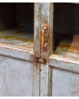 Stará prosklená skříň z teakového dřeva, 81x34x133cm