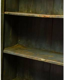Stará prosklená skříň z teakového dřeva, 100x44x179cm