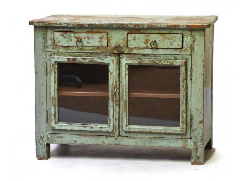 Stará prosklená skříň z teakového dřeva, 102x40x78cm
