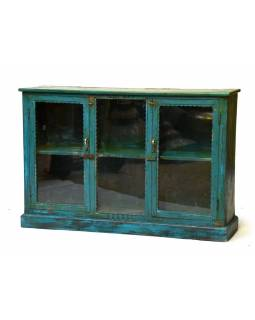 Prosklená skříň z antik teakového dřeva, 138x29x93cm