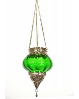 Závěsný skleněný svícen, zelená, kovové zdobení, 10x10x13cm