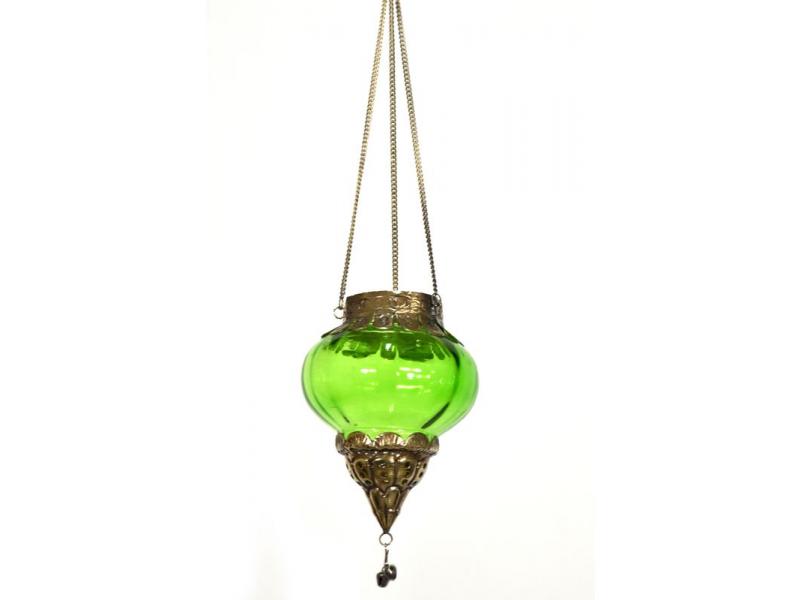 Závěsný skleněný svícen, světle zelená, kovové zdobení, 10x10x13cm