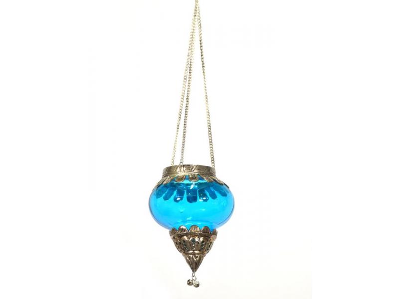 Závěsný skleněný svícen, tyrkysová, kovové zdobení, 10x10x13cm