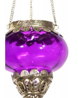 Závěsný skleněný svícen, fialová, kovové zdobení, 10x10x13cm