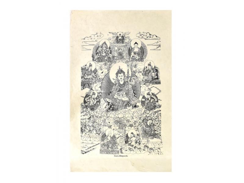Tisk, černobílý, ruční papír,  Guru Rinpoče,  50x75 cm