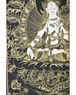 Bílá Tára, zlatý tisk na černém papíru, 47x36cm