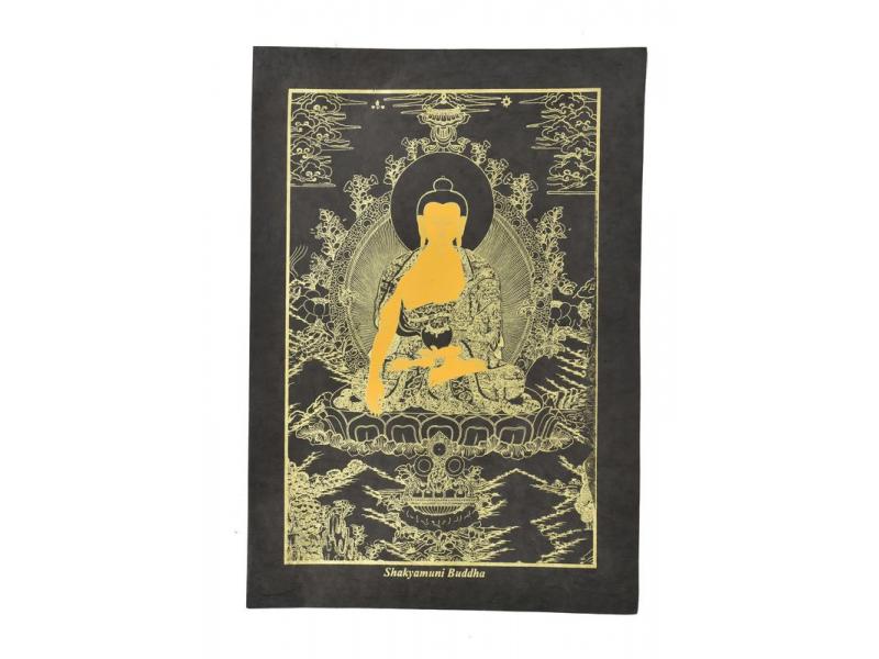 Buddha Šakjamuni, zlatý tisk na černém papíru, 47x36cm