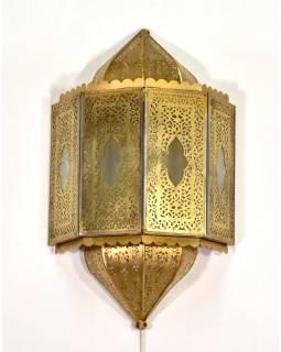Kovové stínidlo na stěnu v orientálním stylu, mosazná patina, 27x13x43cm