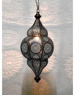Kovová lampa v orientálním stylu,.bronzová, uvnitř modrá, 22x52cm