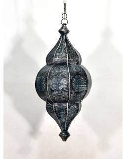 Kovová lampa v orientálním stylu,.černo stříbrná, uvnitř modrá, 22x52cm
