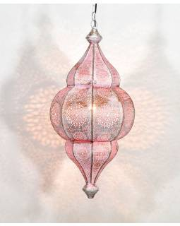 Kovová lampa v orientálním stylu,.bílá, uvnitř růžová, 22x52cm