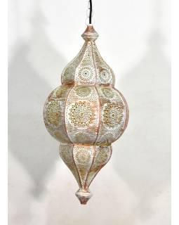 Kovová lampa v orientálním stylu,.bílá, uvnitř žlutá, 22x52cm