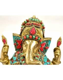 Ganesh, soška vykládaná polodrahokamy,  výš. 15cm,