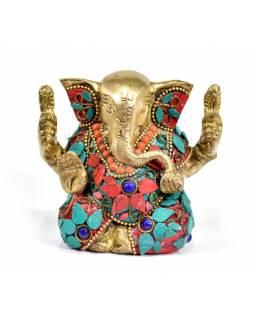 Ganesh, soška vykládaná polodrahokamy,  výš. 9cm