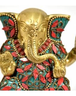 Ganesh, soška vykládaná polodrahokamy,  výš. 9cm,