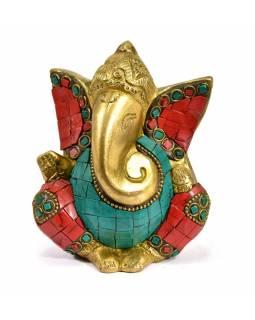 Ganesh, soška vykládaná polodrahokamy, korál, tyrkys, výš. 11cm