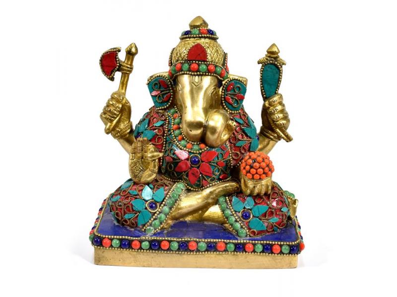 Ganesh, soška vykládaná polodrahokamy,  výš. 16cm