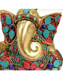 Ganesh, soška vykládaná polodrahokamy,  výš. 10cm