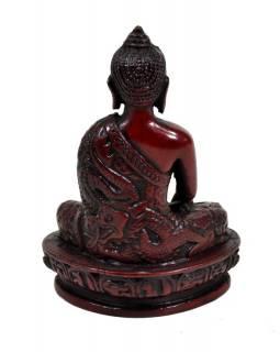 Soška Šákjamuni Buddha, tmavě červený, 14cm