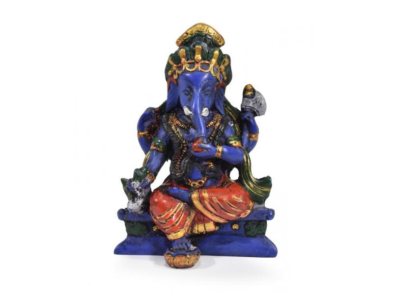 Ganesh sedící, tmavě modrý, barvený, 11cm