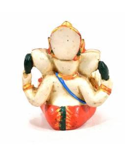 Ganesh, bílý, ručně malovaný, pryskyřice, 8cm