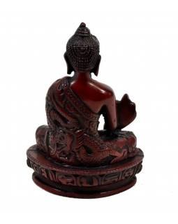 Soška Buddha léčitel (Medicine), tmavě červený, 14cm