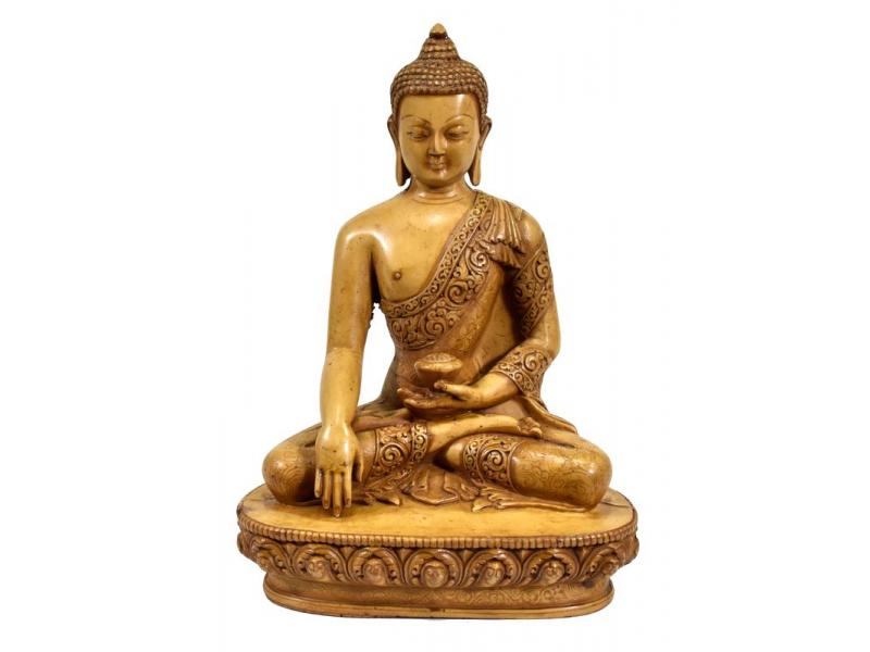 Buddha Šakjamuni, pryskyřice, světle hnědý, ručně vyřezávaný, 21cm