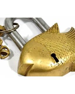 Mosazný visací zámek ryba, 2 klíče, 9,5x8cm