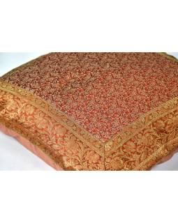 Cihlový saténový povlak na polštář s výšivkou květiny, zip, 40x40cm