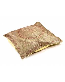 Světlý saténový povlak na polštář s výšivkou mandala, zip, 40x40cm
