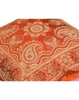 Cihlový saténový povlak na polštář s výšivkou paisley, zip, 40x40cm