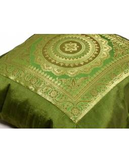 Zelený saténový povlak na polštář s výšivkou mandala, zip, 40x40cm
