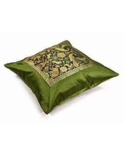 Zelený saténový povlak na polštář s výšivkou sloni, zip, 40x40cm