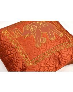 Cihlový saténový povlak na polštář s výšivkou sloni, zip, 40x40cm