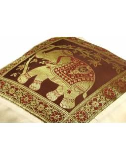 Světlý saténový povlak na polštář s výšivkou sloni, zip, 40x40cm