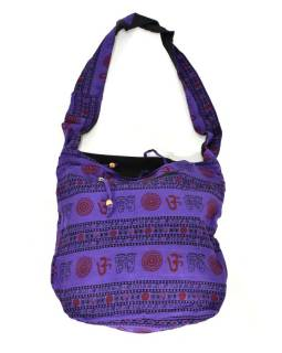 Fialová taška přes rameno s potiskem mantry, kapsy, zip, 39x40cm
