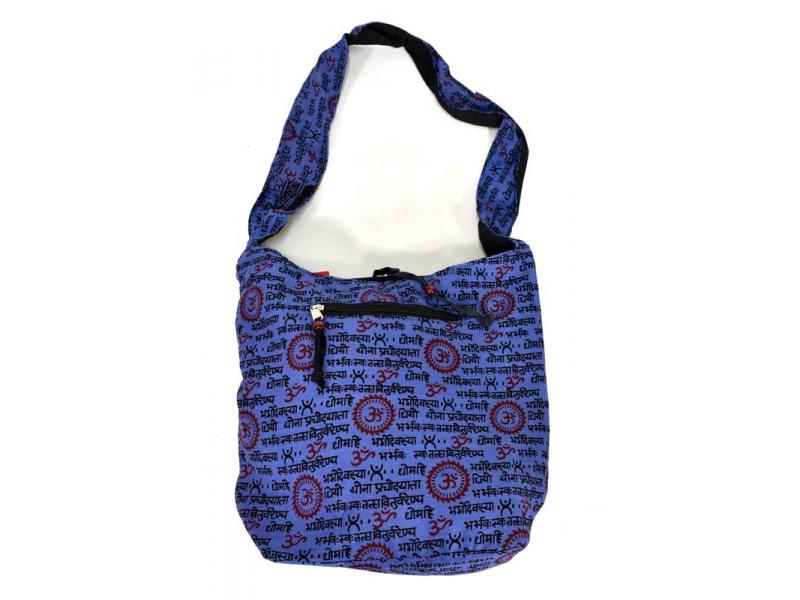 Modrá taška přes rameno s potiskem mantry, kapsy, zip, 39x40cm