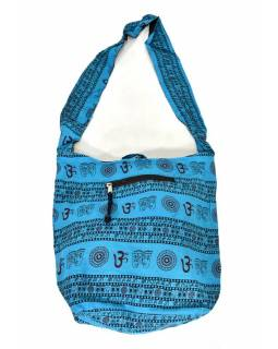 Tyrkysová taška přes rameno s potiskem mantry, kapsy, zip, 39x40cm