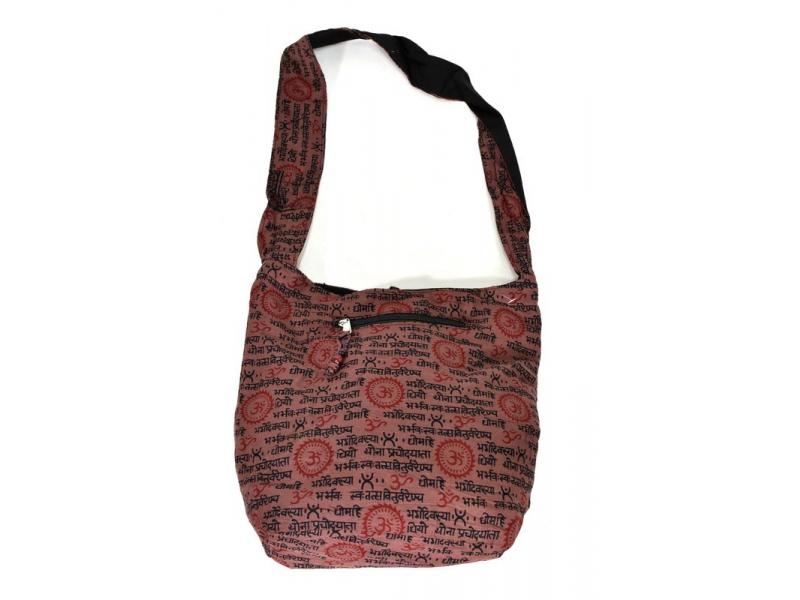 Hnědá taška přes rameno s potiskem mantry, kapsy, zip, 39x40cm